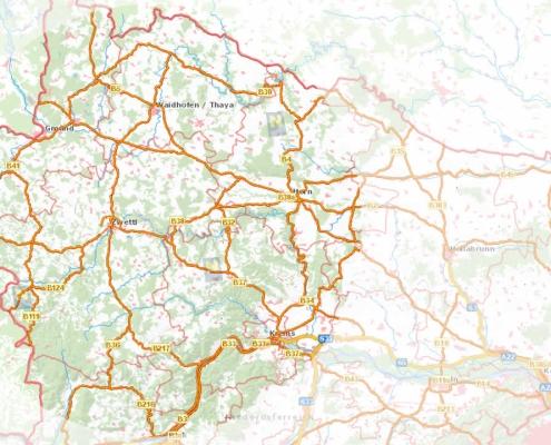 ausgebaute Verkehrswege im waldviertel