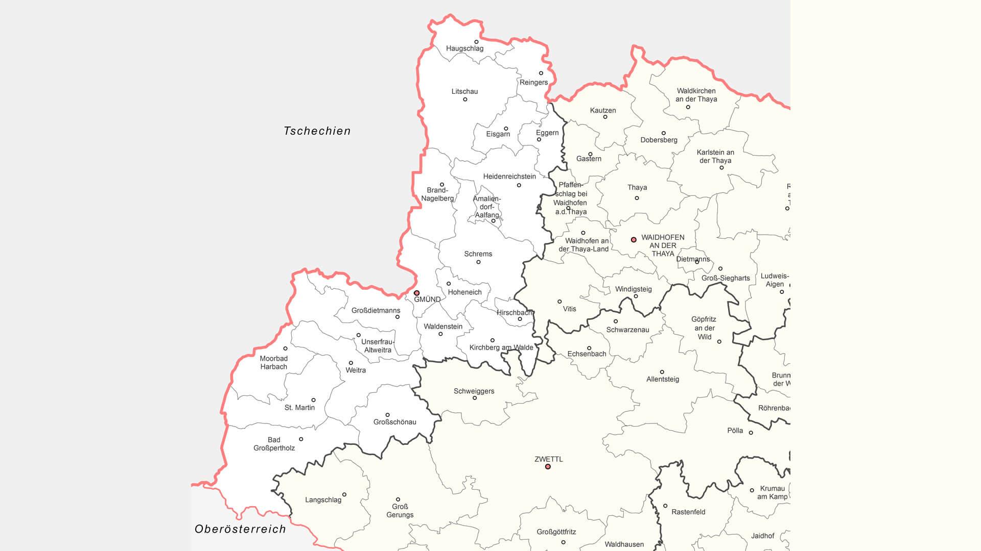 katastralgemeinden bezirk gmünd waldviertel karte map