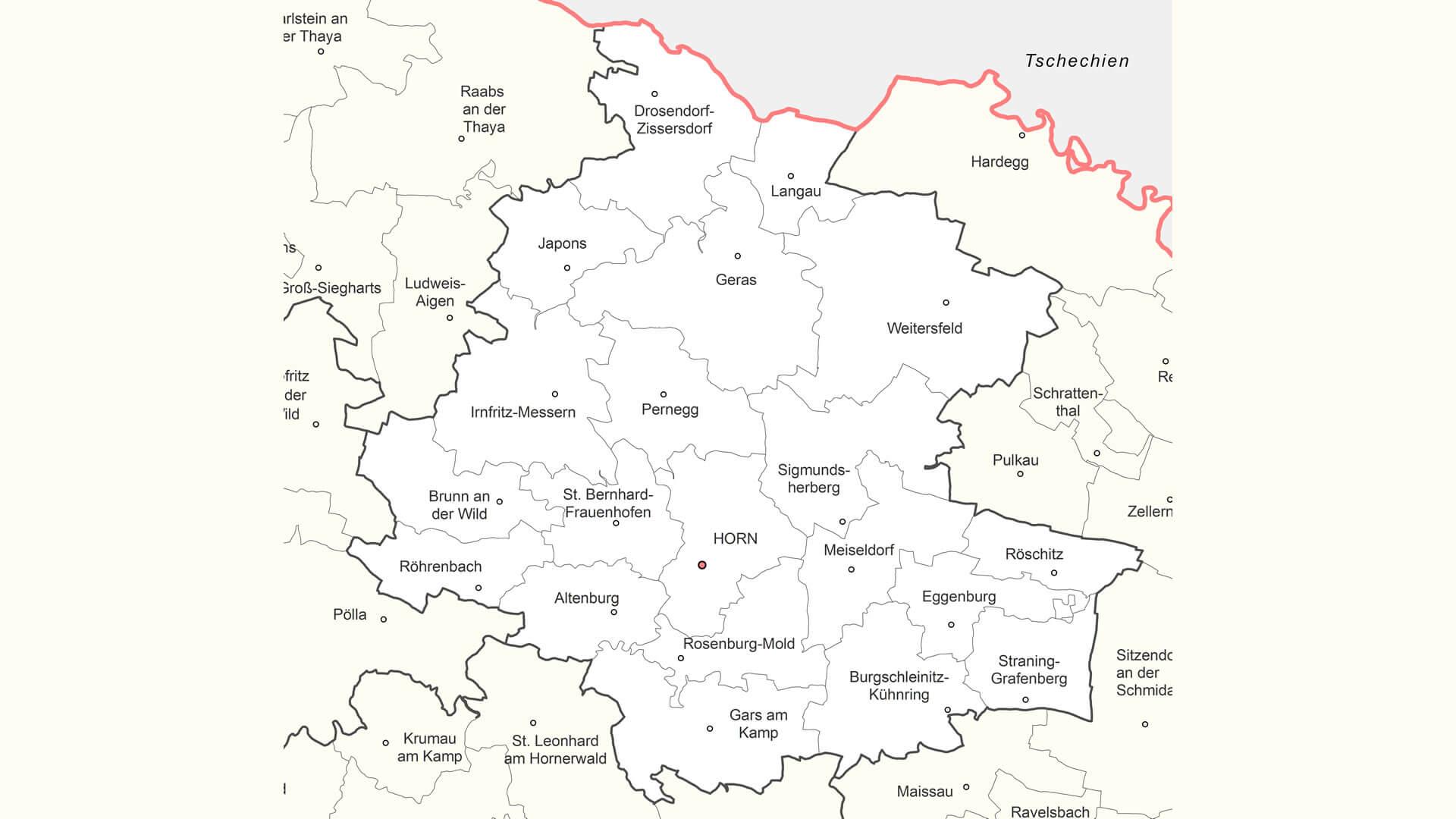 katastralgemeinden bezirk horn waldviertel karte map
