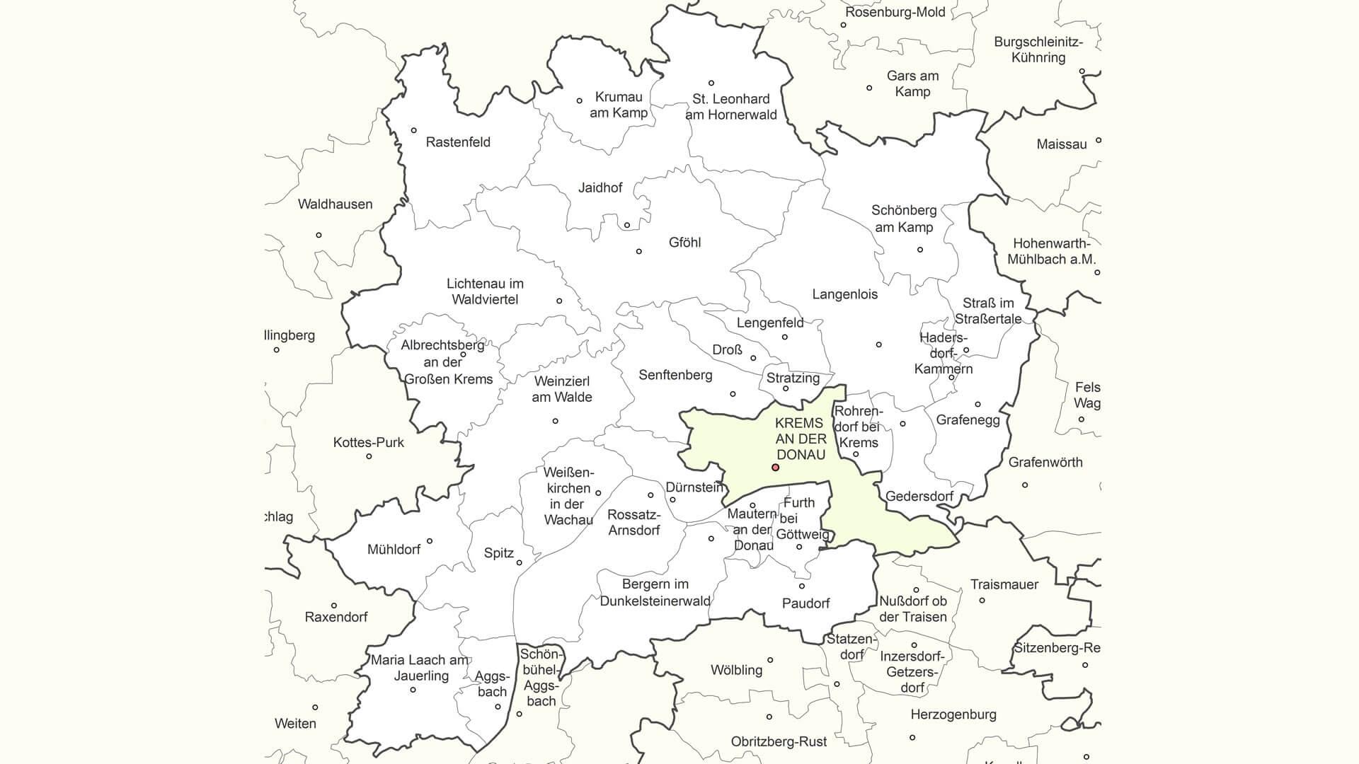 katastralgemeinden bezirk krems waldviertel karte map