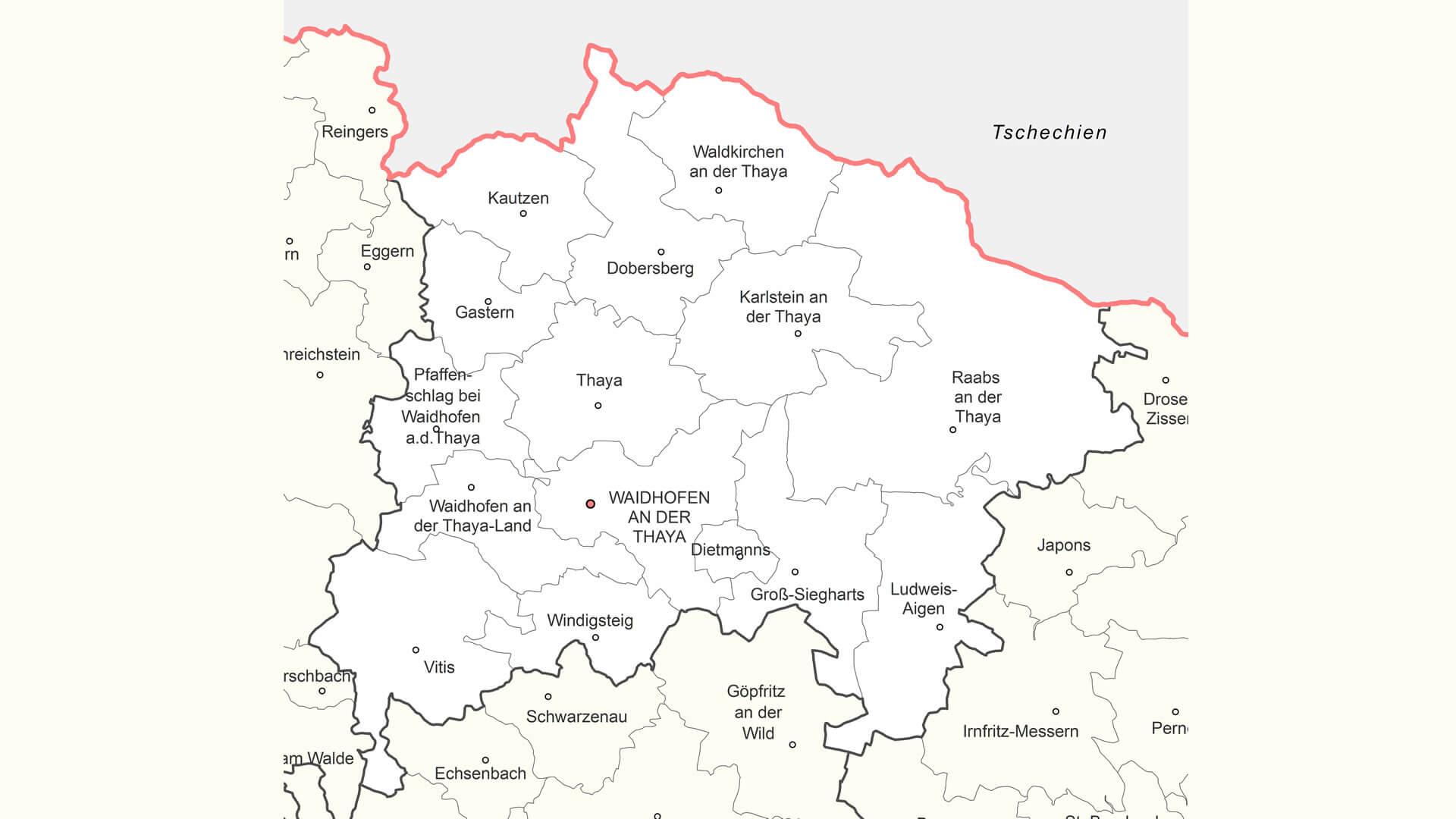 katastralgemeinden bezirk waidhofen an der thaya waldviertel karte map