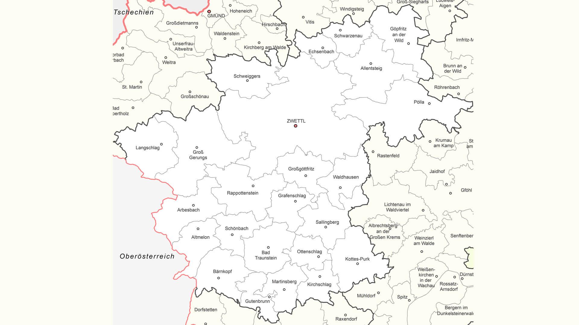 katastralgemeinden bezirk zwettl waldviertel karte map