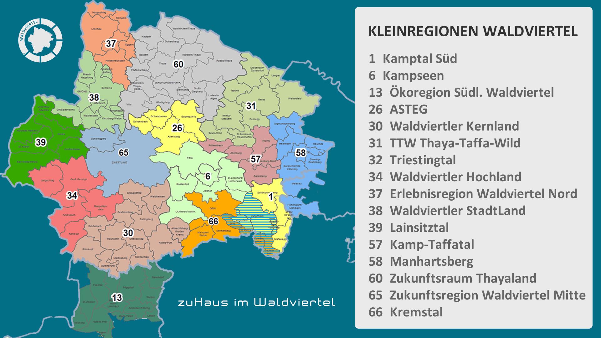 kleinregionen waldviertel karte